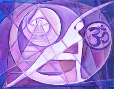 Fine art metaphysical painting, yoga practitioner, ohm symbol and mystical eye, with cubist expressionist background, and purple colors representing crown chakra.